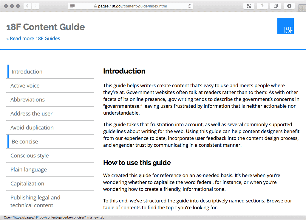 Screenshot of 18F Content Guide.