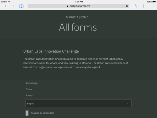 screenshot of forms